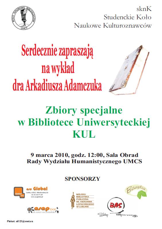 Wykład dra Arkadiusza Adamczuka - Plakat